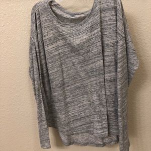 long sleeve gray shirt with small black stripes